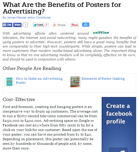 what are the benefits of posters for advertising