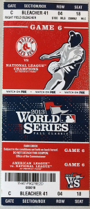 Red Sox World Series 2013 Ticket Stub