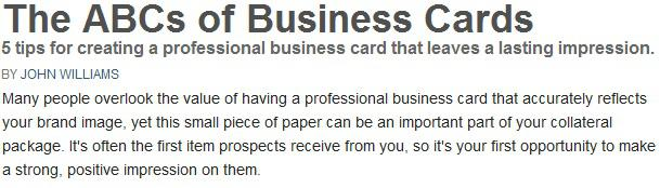 the abcs of business cards